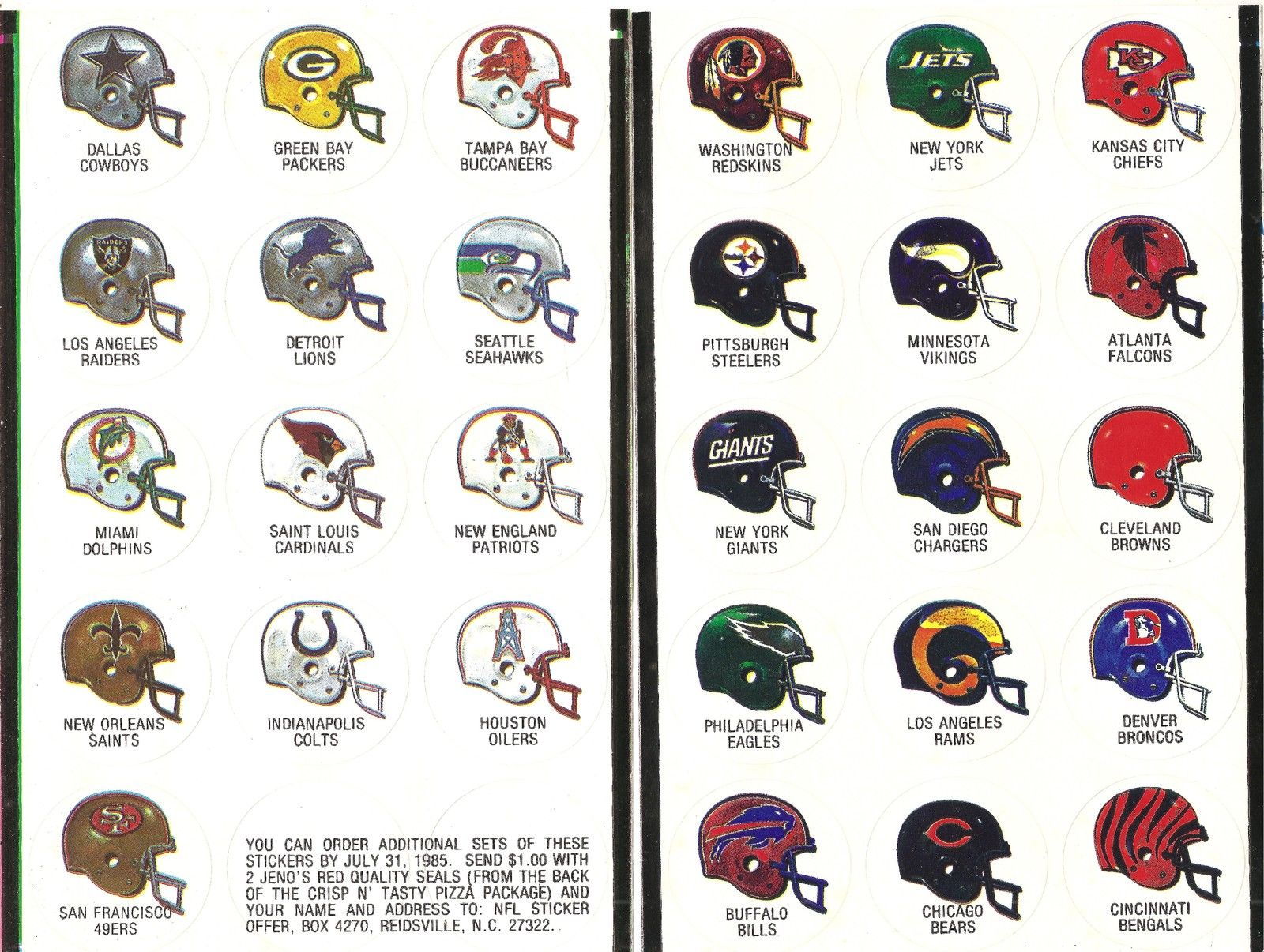 1984-85 Jeno's Pizza NFL Helmet Stickers