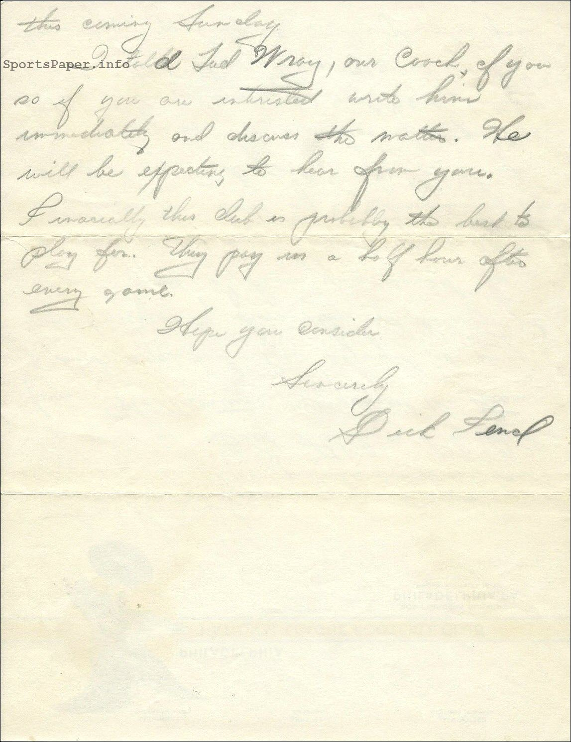 1933 Philadelphia Eagles NFL Recruiting Letter