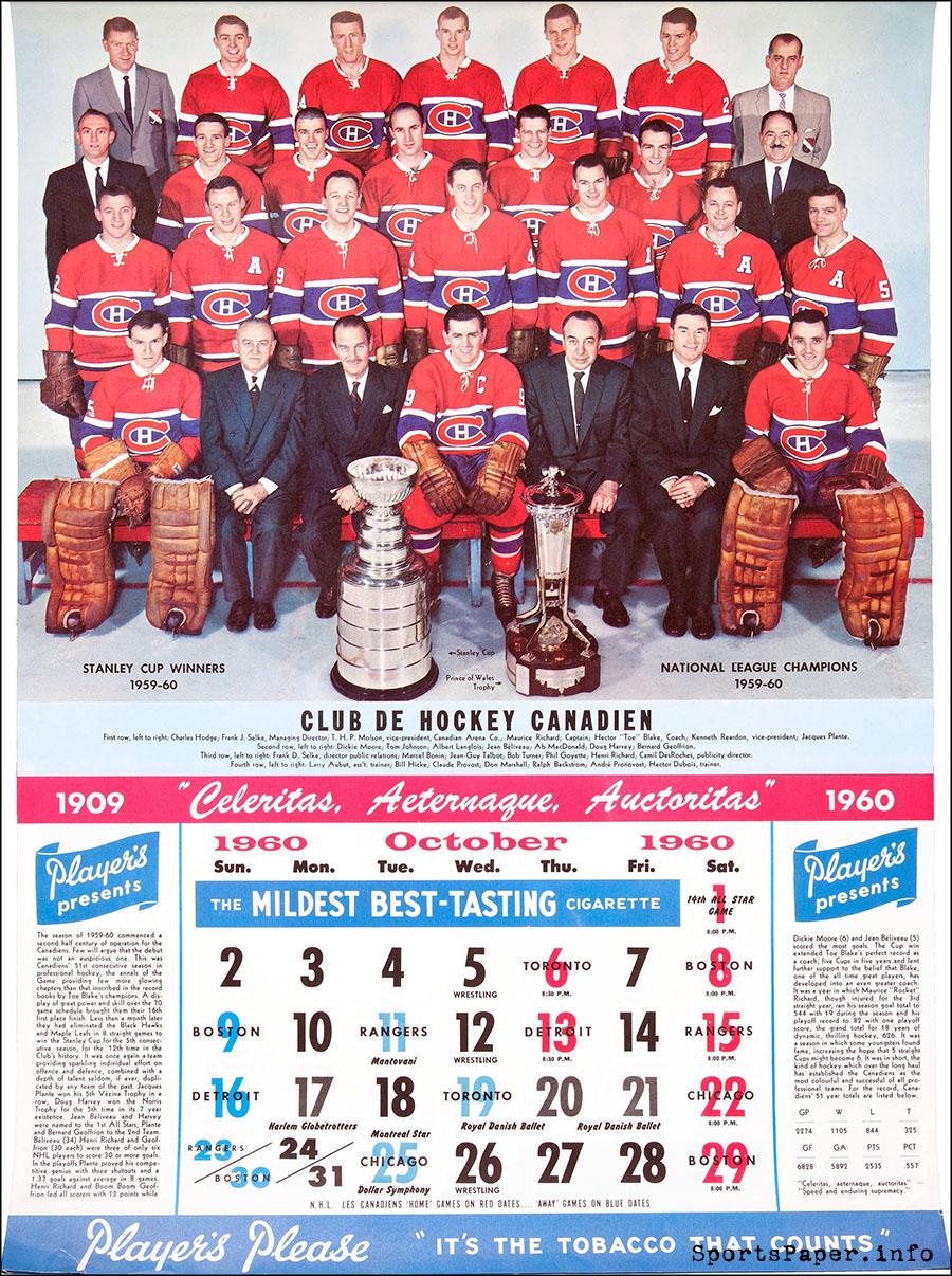Vintage Montreal Canadiens NHL Calendar
