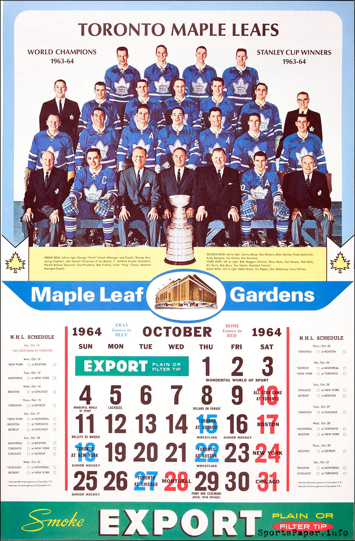 Vintage Toronto Maple Leafs NHL Calendar