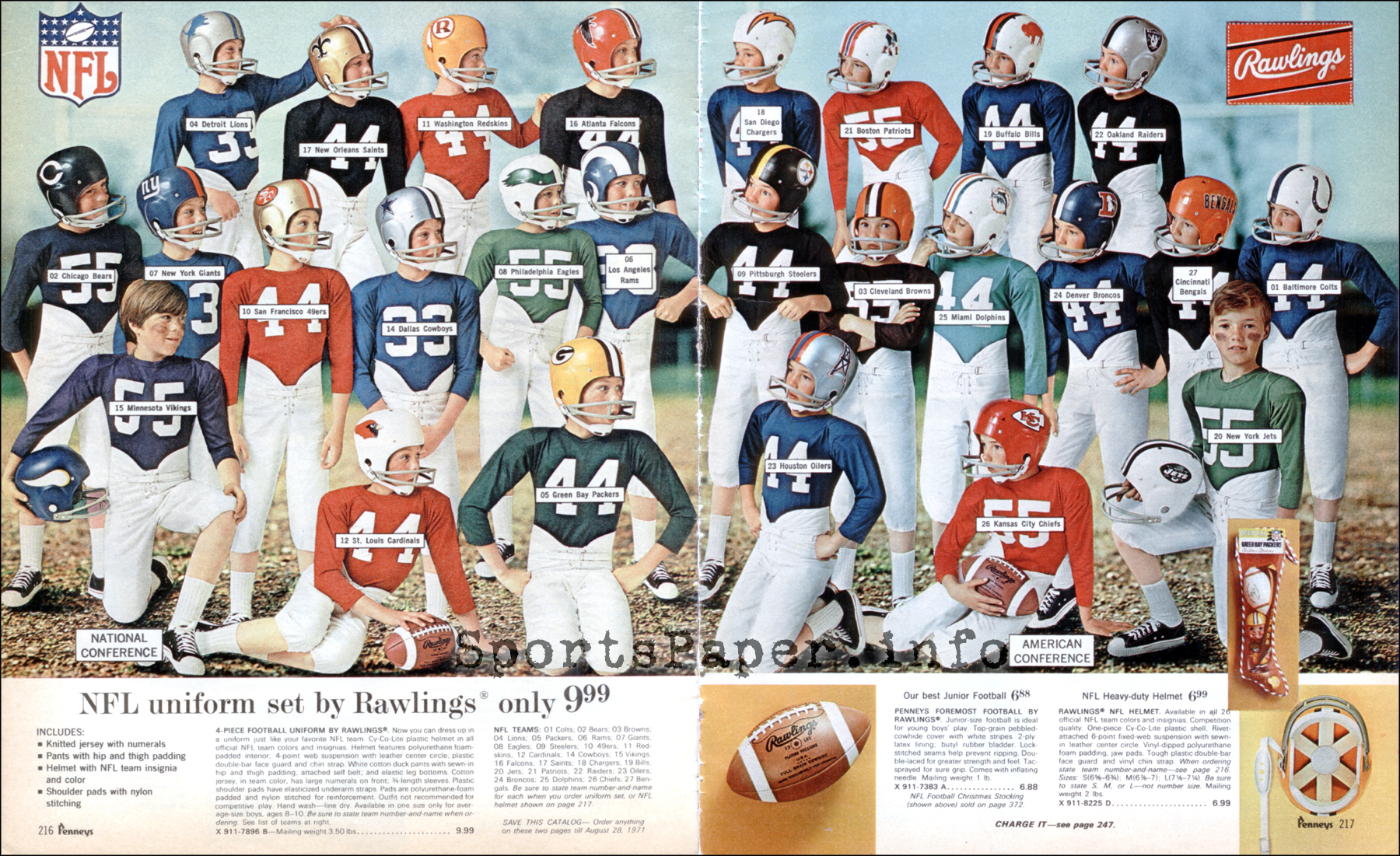 1970 NFL Kids' Uniforms from JC Penneys