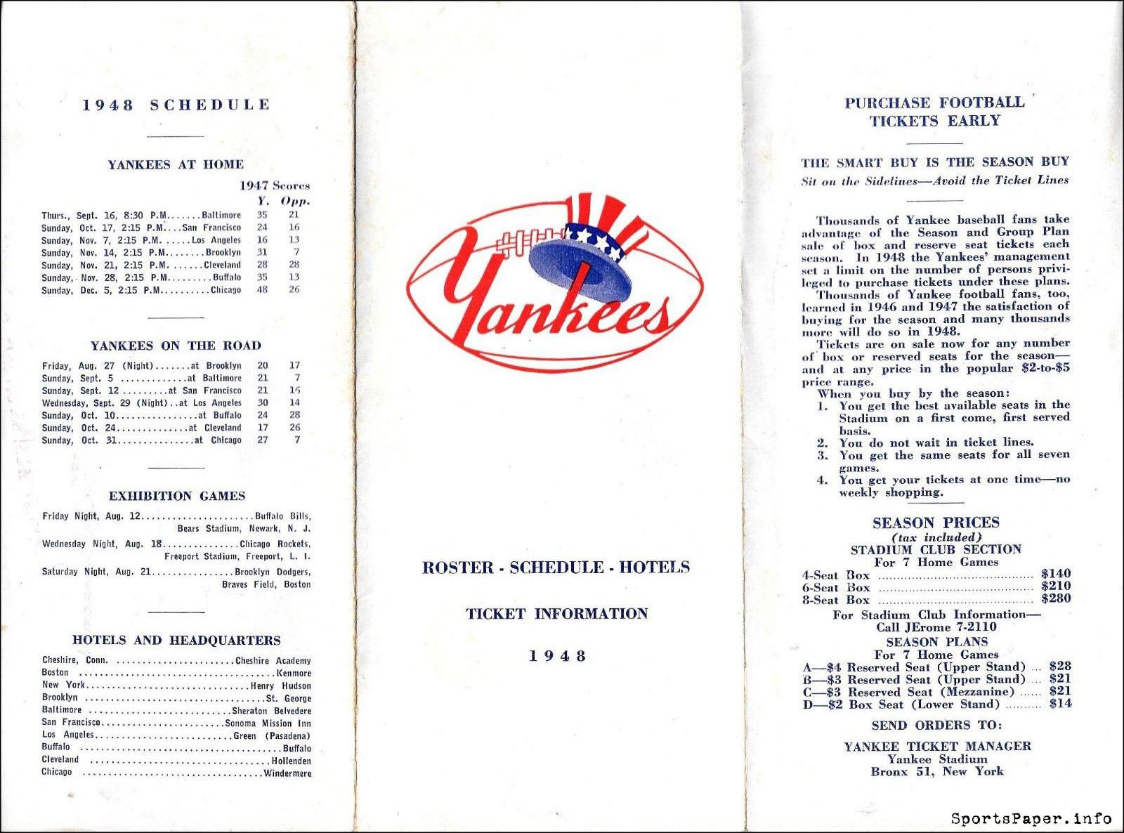 On Schedule: 1948 New York Yankees (AAFC)   SportsPaper info
