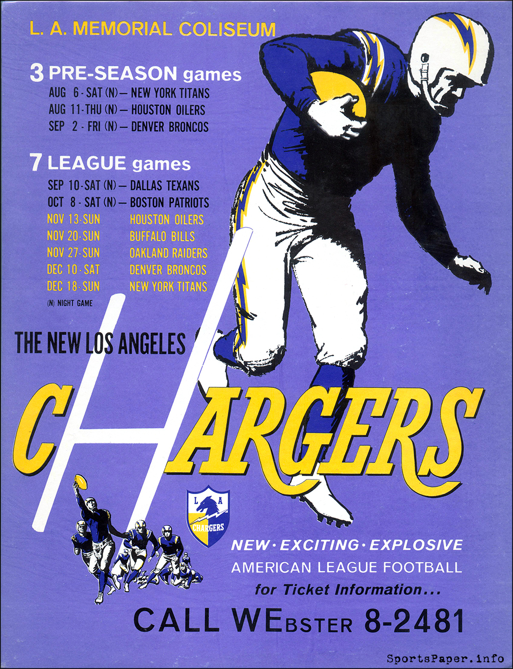 1960 Los Angeles Chargers home game advertising