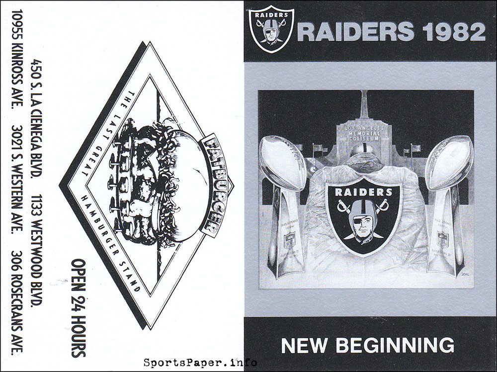 1982: Los Angeles Raiders schedule by Fatburger