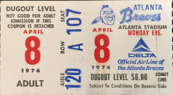 Hank Aaron Hits #715, 4/8/1974, ticket stub from Atlanta Stadium