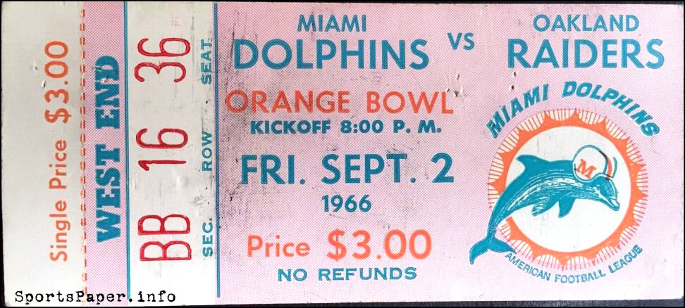 Ticket Please: First Miami Dolphins Home Game, 9/2/1966